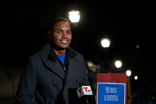 Ritchie Torres, the Democratic nominee for New York's 15th Congressional District, speaks to the media, Tuesday, Nov. 3, 2020, in the Bronx borough of New York. (AP Photo/Adam Hunger)