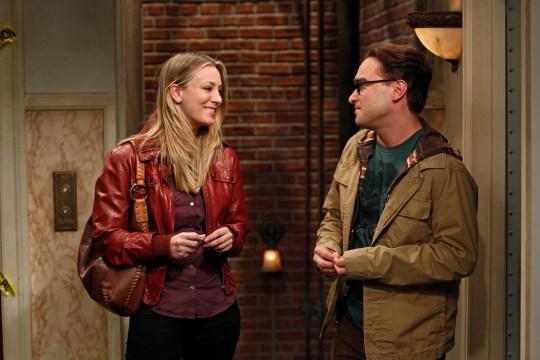 Kaley as Penny on The Big Bang Theory with Johnny Galecki as Leonard