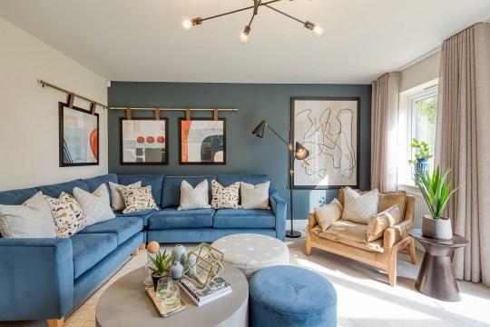 blue living room interiors of coombelands gardens, addlestone, surrey