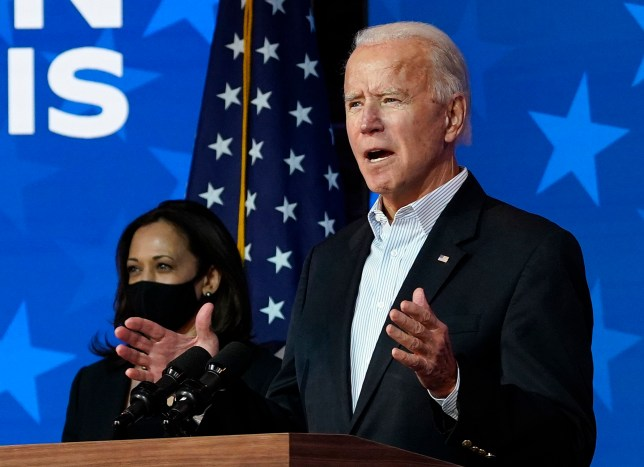 WILMINGTON, DELAWARE - NOVEMBER 05: Democratic presidential nominee Joe Biden speaks while flanked by vice presidential nominee, Sen. Kamala Harris (D-CA), at The Queen theater on November 05, 2020 in Wilmington, Delaware. Biden attended internal meetings with staff as votes are still being counted in his tight race against incumbent U.S. President Donald Trump which remains too close to call. (Photo by Drew Angerer/Getty Images)