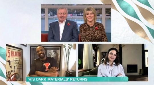 Mandatory Credit: Photo by ITV/REX (11003139au) Eamonn Holmes, Ruth Langsford, Ariyon Bakare and Dafne Keen 'This Morning' TV Show, London, UK - 06 Nov 2020