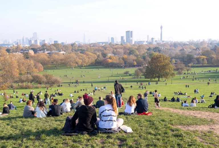 Members of the public gather in groups to enjoy the sunshine on Primrose Hill, north London during the second lockdown. Pictured: General view Ref: SPL5196951 071120 NON-EXCLUSIVE Picture by: SplashNews.com Splash News and Pictures USA: +1 310-525-5808 London: +44 (0)20 8126 1009 Berlin: +49 175 3764 166 photodesk@splashnews.com World Rights,