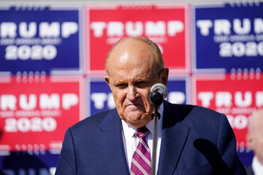 Former New York mayor Rudy Giuliani, a lawyer for President Donald Trump, pauses as he speaks during a news conference on legal challenges to vote counting in Pennsylvania, Saturday Nov. 7, 2020, in Philadelphia. (AP Photo/John Minchillo)