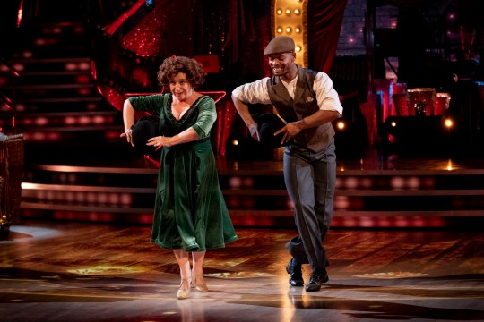 Caroline Quentin and Johannes Radebe during the dress show for Saturday's programme in the BBC1 dancing contest, Strictly Come Dancing