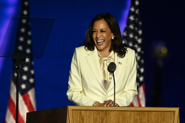 Vice President-elect Kamala Harris delivers remarks in Wilmington, Delaware, on November 7, 2020, after being declared the winner with Joe Biden of the presidential election. (Photo by Jim WATSON / AFP) (Photo by JIM WATSON/AFP via Getty Images)