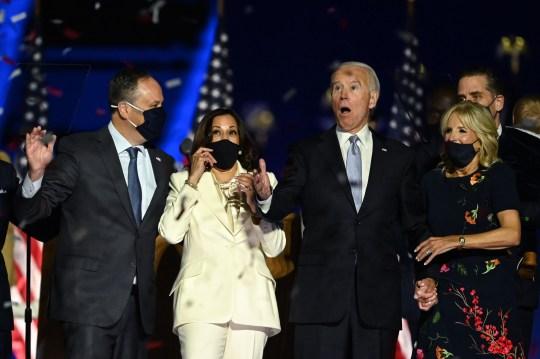 Joe Biden, Kamala Harris and their families