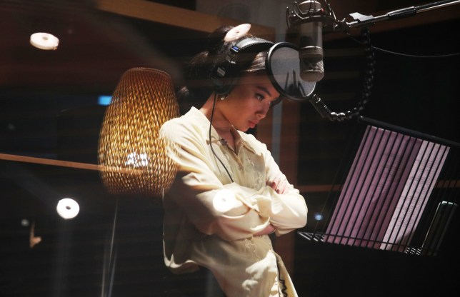 Singer Griff in the studio as she records Love Is A Compass for the 2020 Disney Christmas advert