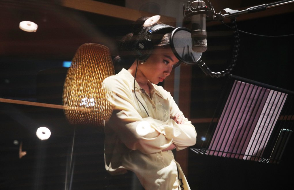 ### Strictly Embargoed Until 00:01 on 09/11/2020 ### *** FREE FOR EDITORIAL USE *** FOR EDITORIAL USE ONLY: Behind-the-scenes image of Ivor Novello Rising Star nominee, Griff (19) recording ?Love Is A Compass? written by songwriting/production team, PARKWILD as the soundtrack for Disney?s new Christmas advert. Released as part of Disney?s festive retail campaign ?From Our Family To Yours?, marking Disney?s 40-year partnership with children?s charity, Make-A-Wish?, for every download before 31 December 2020, 100% of the proceeds from the retail price will be donated to Make-A-Wish? Photo credit should read: Joe Pepler / PINPEP