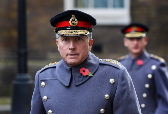 General Sir Nick Carter, Chief of the Defence Staff, in Downing Street on his way to The Cenotaph ahead of Remembrance Sunday Service
