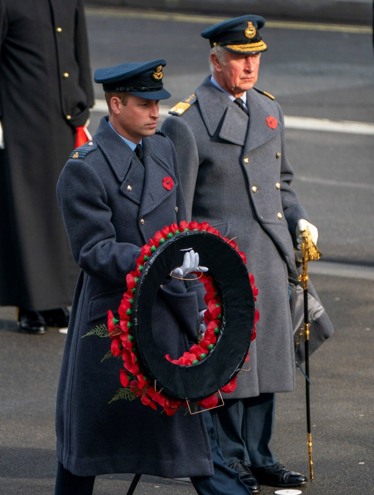 Britain's Prince Charles and Prince William attend the National Service of Remembrance at The Cenotaph on Whitehall amid the coronavirus pandemic in London, Britain November 8, 2020.