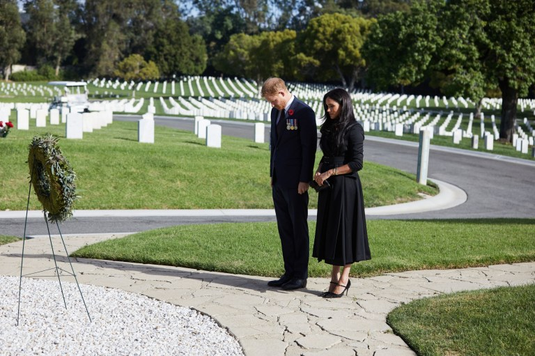 The Duke and Duchess of Sussex during a private visit to the Los Angeles National Cemetery on Remembrance Sunday.