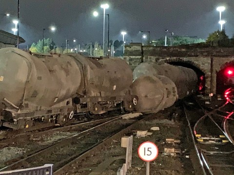 Freight train derails near tunnel sparking chaos along Midland Mainline