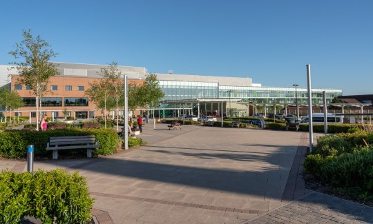 STOKE ON TRENT, UK - MAY 14, 2018: Entrance to Royal Stoke University Hospital in Stoke on Trent, UK