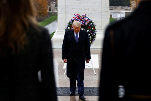 US President Donald Trump turns after placing a wreath at the Tomb of the Unknown Soldier yesterday