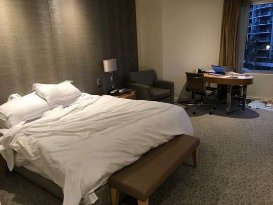 pic shows Andrei's room at Hyatt Hotel, Perth. Andrei Harmsworth visits his mum in Perth Australia for feature on Quarantine in Metro newspaper