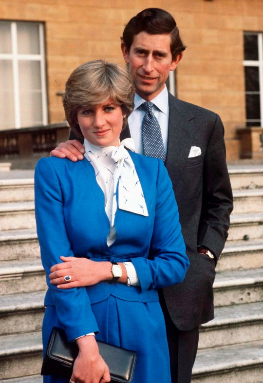 LONDON, UNITED KINGDOM - FEBRUARY 24: Lady Diana Spencer Reveals Her Sapphire And Diamond Engagement Ring While She And Prince Charles Pose For Photographs In The Grounds Of Buckingham Palace Following The Announcement Of Their Engagement. (Photo by Tim Graham Photo Library via Getty Images)
