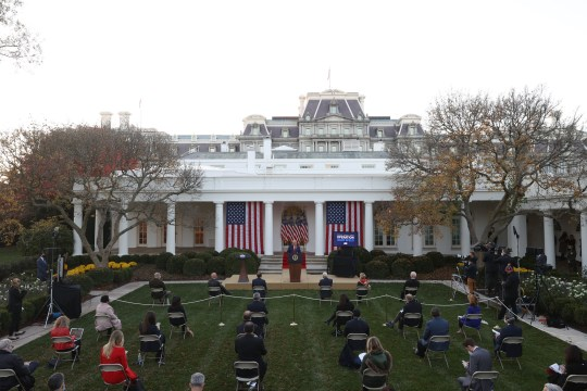 WASHINGTON, DC - NOVEMBER 13: U.S. President Donald Trump speaks about Operation Warp Speed in the Rose Garden at the White House on November 13, 2020 in Washington, DC. The is the first time President Trump has spoken since election night last week, as COVID-19 infections surge in the United States. (Photo by Tasos Katopodis/Getty Images) ***BESTPIX***