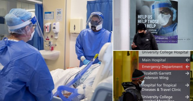 Hospital staff in intensive care unit and people walking past hospital signs