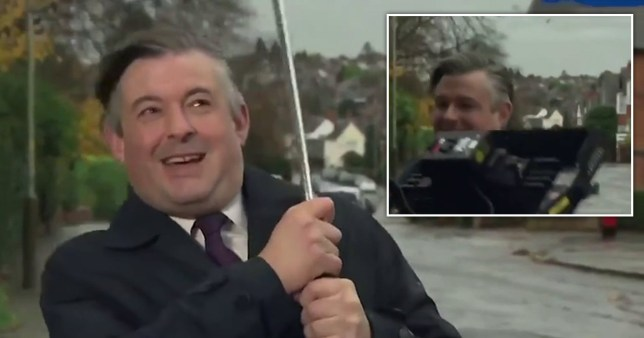 Jonathan Ashworth hit by tech during Ridge interview in the pouring rain