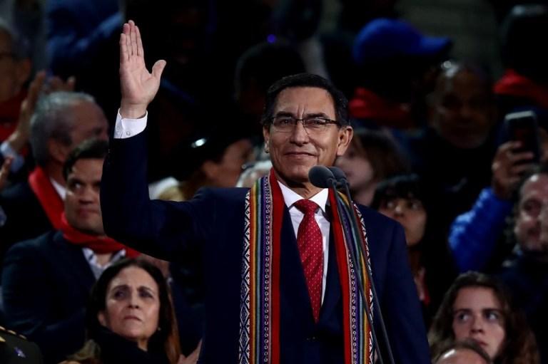 Le président péruvien Martin Vizcarra inaugure officiellement les Jeux panaméricains de Lima 2019 à l'Estadio Nacional le 26 juillet 2019 à Lima, au Pérou.