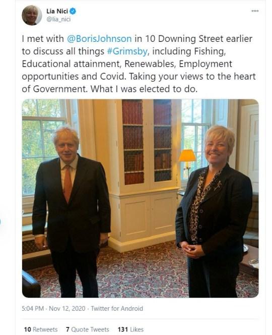 Lia Nici with Boris Johnson in Downing Street.