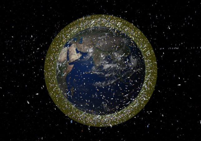 Artist's impression issued by ESA of space debris in low Earth orbit (LEO)