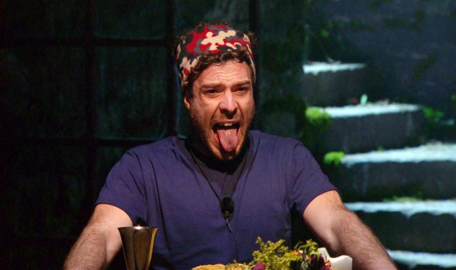 Jordan North sticks his tongue out during the Frights of the Round Table trial on I'm a Celebrity... Get Me Out of Here!'