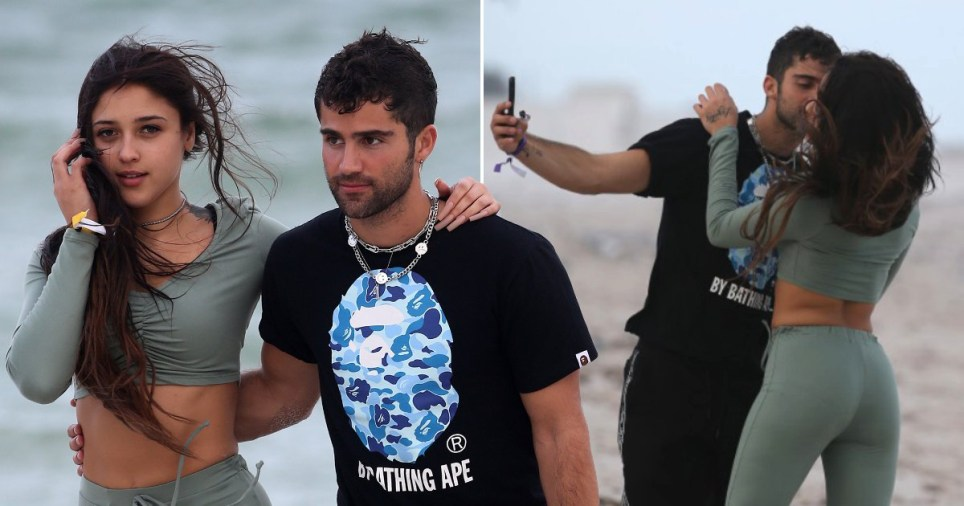Max Ehrich kissing singer Mariah Angeliq on beach in Miami