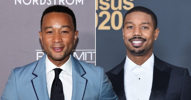 John Legend and Michael B Jordan pictured on red carpet