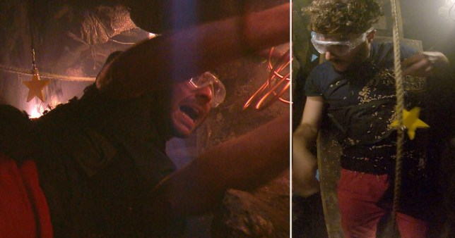 Jordan North taking part in Trapped Door trial on I'm A Celebrity