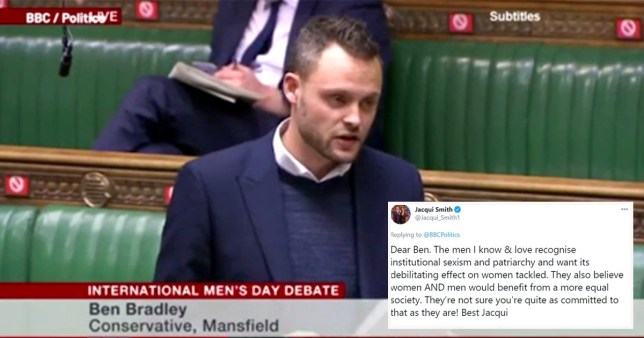 Screengrab of Ben Bradley opening parliament debate on International Men's Day