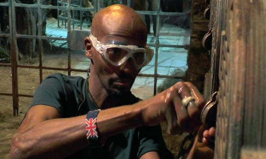 Mo Farah taking part in Fort Locks I'm A Celebrity trial