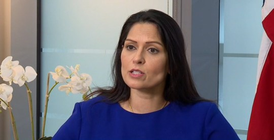 Screen grab of Priti Patel during TV interview