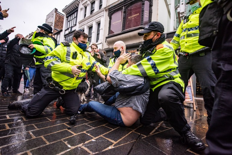 Man arrested and sprayed with pepper during large Liverpool anti-lockdown protest