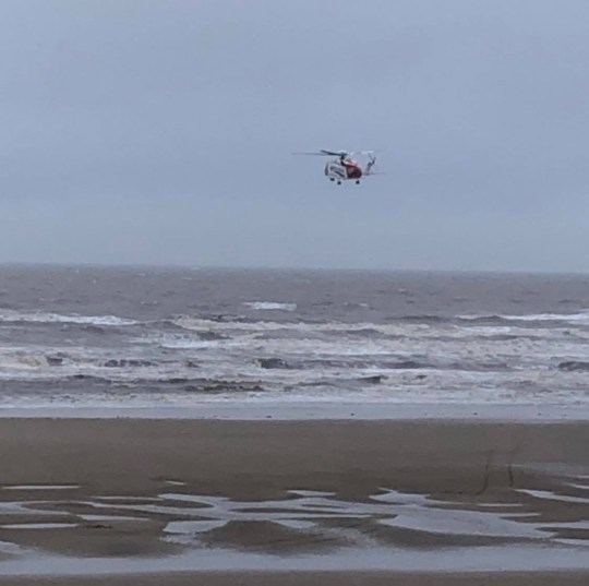 A helicopter searches for a missing man in Blackpool North Pier