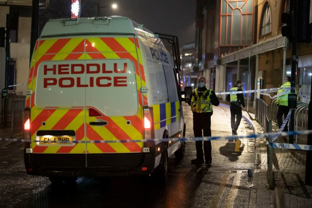 CARDIFF, WALES - NOVEMBER 21: A general view of the scene on Queen Street on November 21, 2020 in Cardiff, Wales. Witnesses have reported a large police presence in the city centre with an area at the top of Queen Street near a Sainsbury?s store cordoned off.