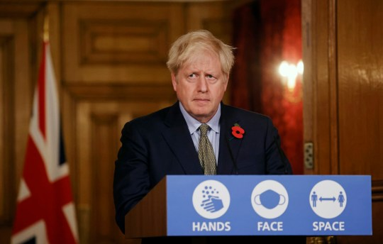 LONDON, ENGLAND - NOVEMBER 09: Britain's Prime Minister, Boris Johnson speaks during a virtual press conference on the coronavirus pandemic in the UK inside 10 Downing Street on November 9, 2020 in London, England. (Photo by Tolga Akmen - WPA pool/Getty Images)
