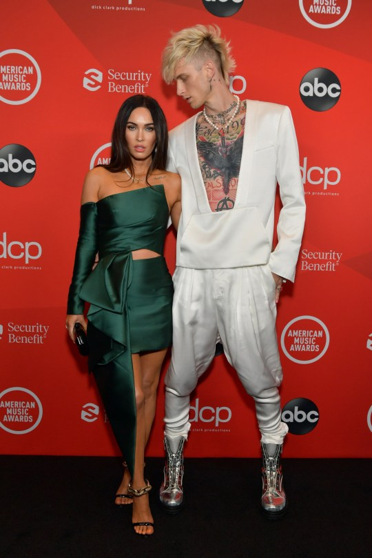 LOS ANGELES, CALIFORNIA - NOVEMBER 22: (L-R) In this image released on November 22, Megan Fox and Machine Gun Kelly attend the 2020 American Music Awards at Microsoft Theater on November 22, 2020 in Los Angeles, California. (Photo by Emma McIntyre /AMA2020/Getty Images for dcp)