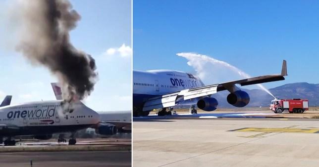 Une épaisse fumée noire s'échappe de l'avion de British Airways en Espagne Pics: Fly News / CDT Airport / Twitter