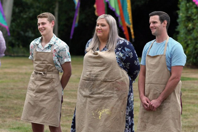 Great British Bake Off finalists Peter, Laura and Dave.