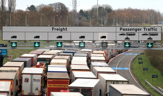 Freight lorries queueing along the M20 in Kent