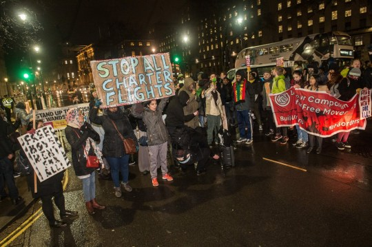 Protestors against the Jamaica 50 deportation flight block Whitehall