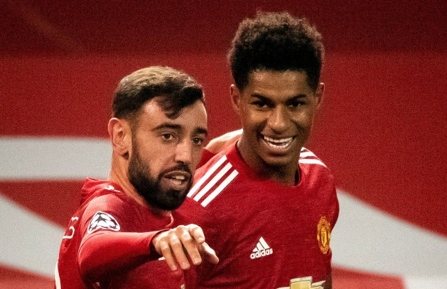 Bruno Fernandes celebrates with Marcus Rashford as Manchester United beat Istanbul Basaksehir