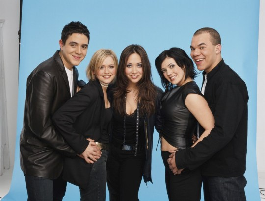 British pop group Hear'Say, from left to right, they are Noel Sullivan, Suzanne Shaw, Myleene Klass, Kym Marsh and Danny Foster.