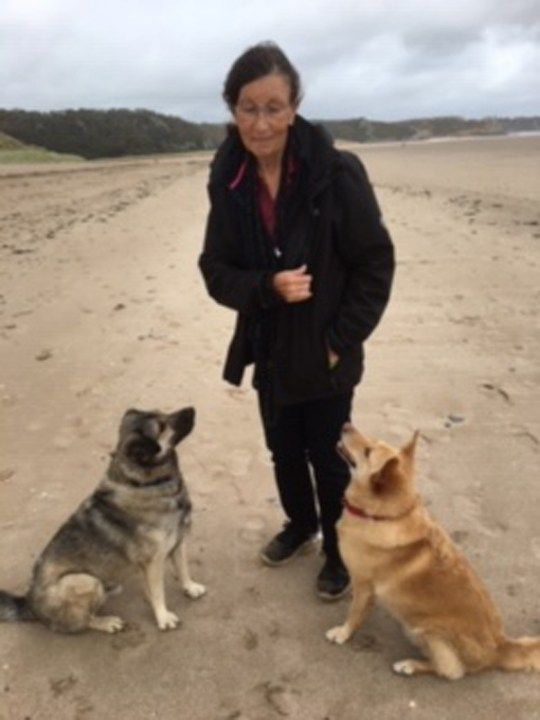 Felicity Hollings with Reuben and another dog.