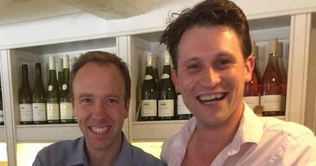 Matt Hancock pictured with Alex Bourne at the Cock Inn in Thurlow