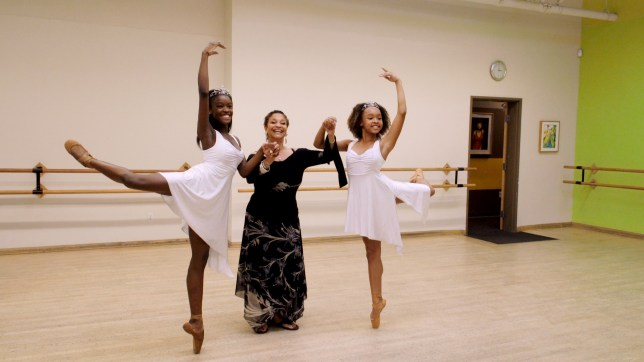 Debbie Allen with dancers, Destiny Wimpye and Jalyn Flowers in Dance Dreams: Hot Chocolate Nutcracker. c. Courtesy of Netflix ??2020