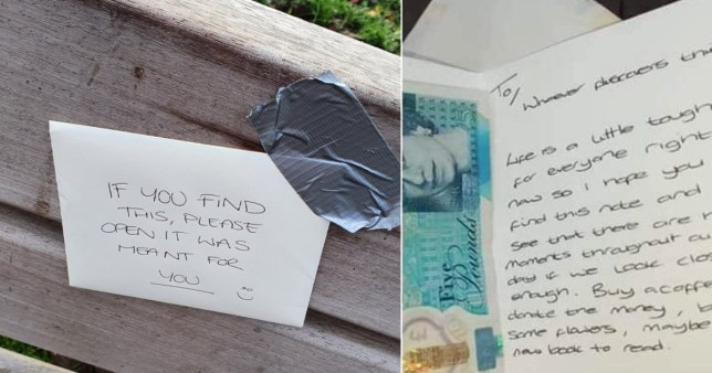Random act of kindness: Stranger finds £5 and a heartwarming note taped to park bench