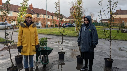 EMBARGOED TO 0001 SUNDAY NOVEMBER 29 For use in UK, Ireland or Benelux countries only Undated BBC handout photo of Anita Rani (left) and Haleema in Bradford in a special launch episode of Countryfile called Plant Britain, supporting a campaign to plant 750,000 trees in an effort to tackle climate change. PA Photo. Issue date: Sunday November 29, 2020. The campaign, launching on Countryfile on Sunday November 29 at 6.15pm on BBC One, has been supported by the Prince of Wales and stars including actress Dame Judi Dench, Queen guitarist Brian May and model Twiggy. See PA story SHOWBIZ Countryfile. Photo credit should read: Countryfile/BBC/PA Wire NOTE TO EDITORS: Not for use more than 21 days after issue. You may use this picture without charge only for the purpose of publicising or reporting on current BBC programming, personnel or other BBC output or activity within 21 days of issue. Any use after that time MUST be cleared through BBC Picture Publicity. Please credit the image to the BBC and any named photographer or independent programme maker, as described in the caption.