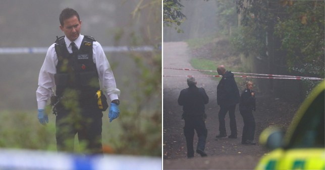 Metropolitan Police in Hampstead Heath, north London, after a woman was found dead in a woodland area on November 28, 2020